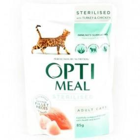 OPTIMEAL CAT SP, STERILIZATE, CURCAN SI PUI IN SOS, PLIC 85 GR (SET 9+3)